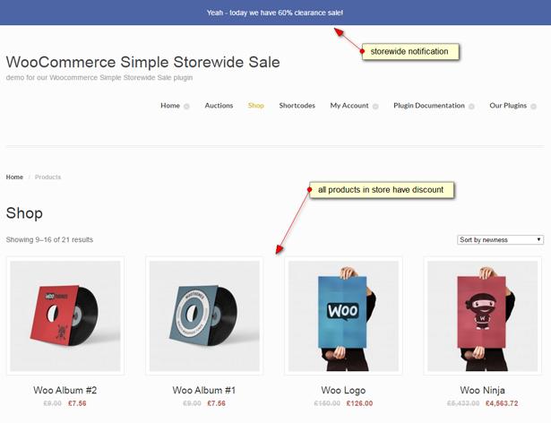 Captura de pantalla de WooCommerce Simple Storewide Sale