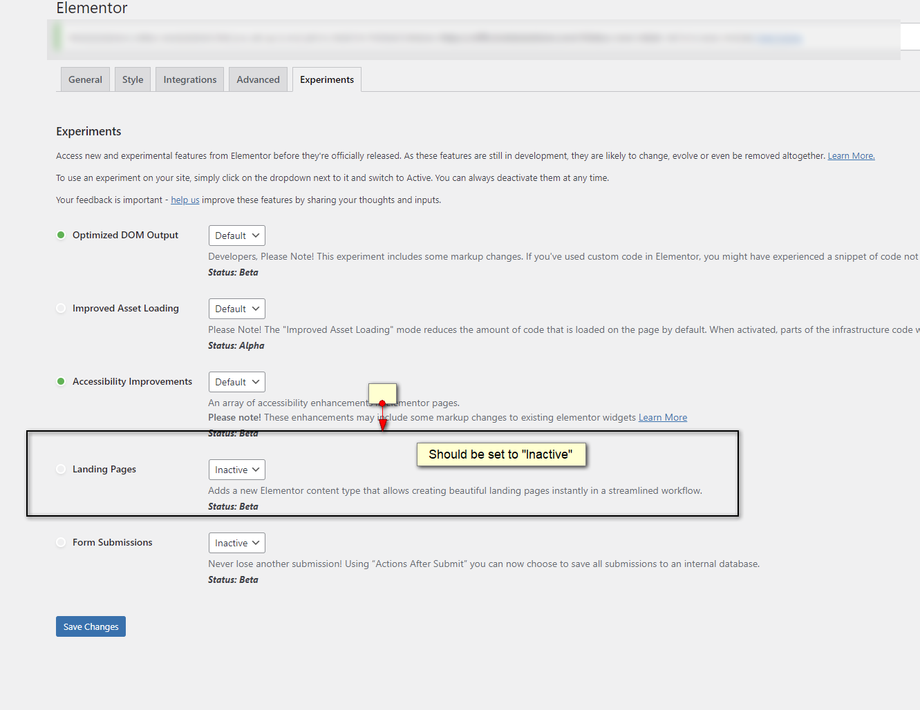 elementor landing pages experiment should be set to inactive