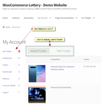 WooCommerce Lottery My Tickets (active and past) in My Account menu
