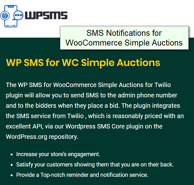 wsa sms notifications